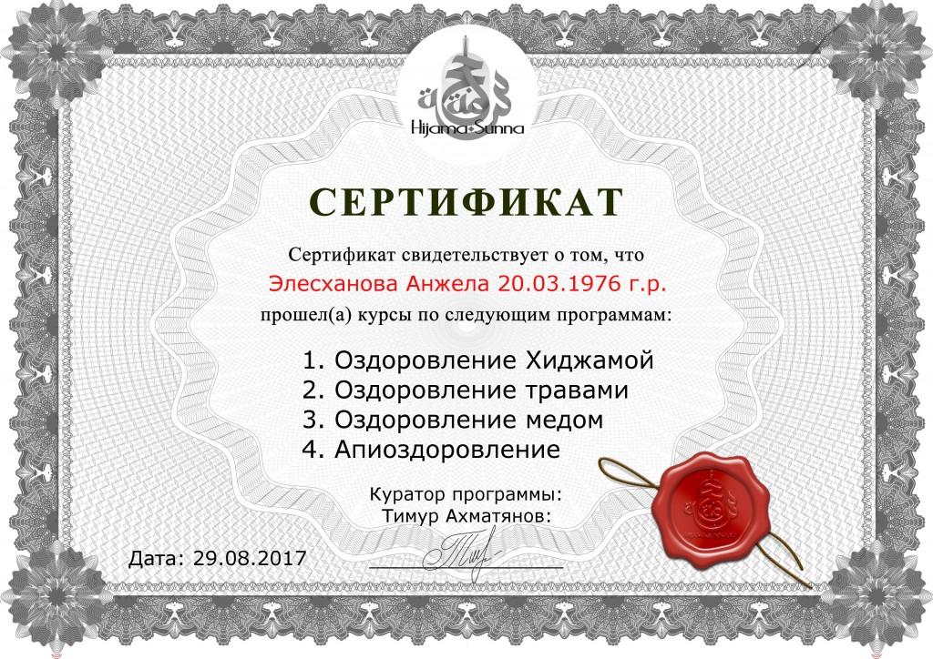 ХИДЖАМА В МОЗДОКЕ сертификат